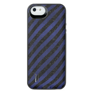 STRIPES3 BLACK MARBLE & BLUE LEATHER iPhone SE/5/5s BATTERY CASE