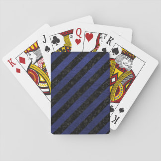 STRIPES3 BLACK MARBLE & BLUE LEATHER PLAYING CARDS