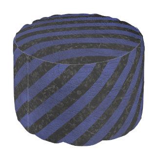 STRIPES3 BLACK MARBLE & BLUE LEATHER POUF
