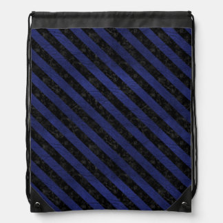 STRIPES3 BLACK MARBLE & BLUE LEATHER (R) DRAWSTRING BAG
