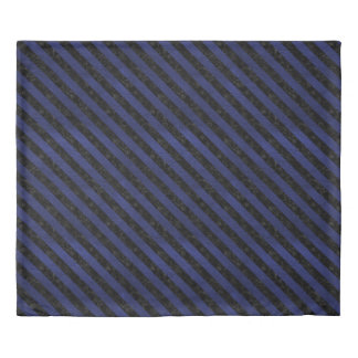 STRIPES3 BLACK MARBLE & BLUE LEATHER (R) DUVET COVER