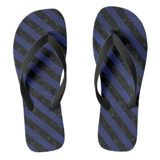 STRIPES3 BLACK MARBLE & BLUE LEATHER (R) FLIP FLOPS