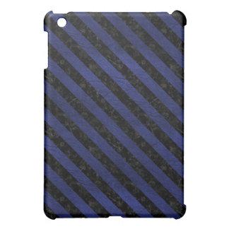 STRIPES3 BLACK MARBLE & BLUE LEATHER (R) iPad MINI CASE