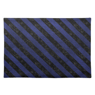 STRIPES3 BLACK MARBLE & BLUE LEATHER (R) PLACEMAT