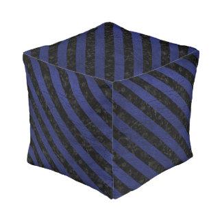 STRIPES3 BLACK MARBLE & BLUE LEATHER (R) POUF