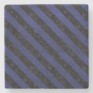 STRIPES3 BLACK MARBLE & BLUE LEATHER (R) STONE COASTER