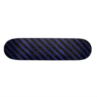 STRIPES3 BLACK MARBLE & BLUE LEATHER SKATE BOARD