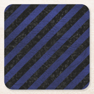 STRIPES3 BLACK MARBLE & BLUE LEATHER SQUARE PAPER COASTER