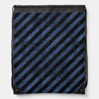 STRIPES3 BLACK MARBLE & BLUE STONE DRAWSTRING BAG