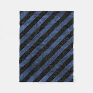 STRIPES3 BLACK MARBLE & BLUE STONE FLEECE BLANKET