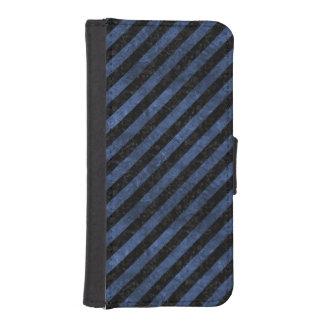 STRIPES3 BLACK MARBLE & BLUE STONE iPhone SE/5/5s WALLET CASE