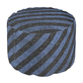 STRIPES3 BLACK MARBLE & BLUE STONE POUF