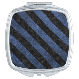 STRIPES3 BLACK MARBLE & BLUE STONE (R) COMPACT MIRRORS