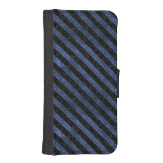 STRIPES3 BLACK MARBLE & BLUE STONE (R) iPhone SE/5/5s WALLET CASE