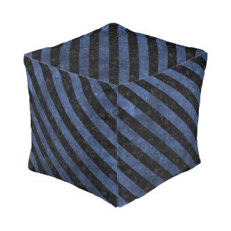 STRIPES3 BLACK MARBLE & BLUE STONE (R) POUF