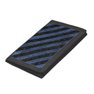 STRIPES3 BLACK MARBLE & BLUE STONE (R) TRIFOLD WALLET