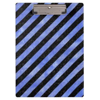 STRIPES3 BLACK MARBLE & BLUE WATERCOLOR CLIPBOARD