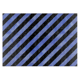 STRIPES3 BLACK MARBLE & BLUE WATERCOLOR CUTTING BOARD
