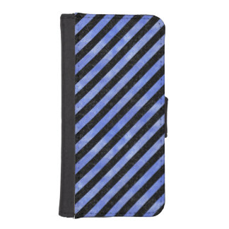 STRIPES3 BLACK MARBLE & BLUE WATERCOLOR iPhone SE/5/5s WALLET CASE