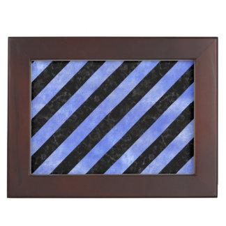 STRIPES3 BLACK MARBLE & BLUE WATERCOLOR KEEPSAKE BOX