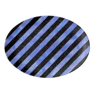 STRIPES3 BLACK MARBLE & BLUE WATERCOLOR PORCELAIN SERVING PLATTER