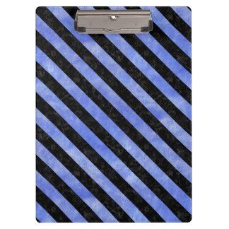 STRIPES3 BLACK MARBLE & BLUE WATERCOLOR (R) CLIPBOARD