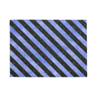 STRIPES3 BLACK MARBLE & BLUE WATERCOLOR (R) DOORMAT
