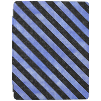 STRIPES3 BLACK MARBLE & BLUE WATERCOLOR (R) iPad COVER