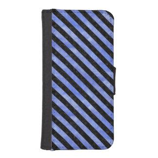 STRIPES3 BLACK MARBLE & BLUE WATERCOLOR (R) iPhone SE/5/5s WALLET CASE