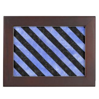 STRIPES3 BLACK MARBLE & BLUE WATERCOLOR (R) KEEPSAKE BOX