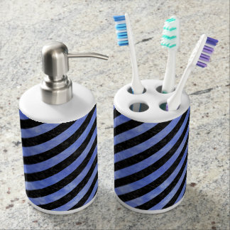 STRIPES3 BLACK MARBLE & BLUE WATERCOLOR SOAP DISPENSER AND TOOTHBRUSH HOLDER