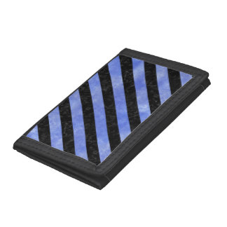 STRIPES3 BLACK MARBLE & BLUE WATERCOLOR TRIFOLD WALLETS