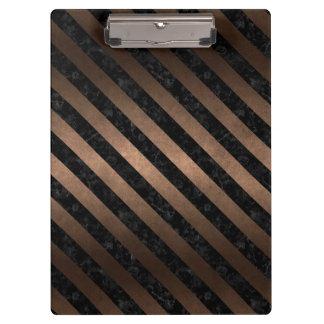 STRIPES3 BLACK MARBLE & BRONZE METAL (R) CLIPBOARD