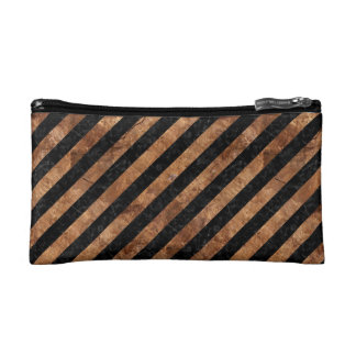 STRIPES3 BLACK MARBLE & BROWN STONE COSMETIC BAG