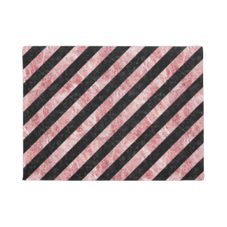 STRIPES3 BLACK MARBLE & RED & WHITE MARBLE DOORMAT