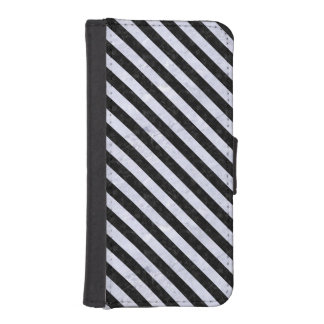 STRIPES3 BLACK MARBLE & WHITE MARBLE (R) iPhone SE/5/5s WALLET CASE