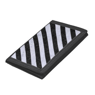 STRIPES3 BLACK MARBLE & WHITE MARBLE TRIFOLD WALLET