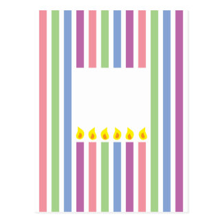 Stripes and Colourful candles in a box Postcard