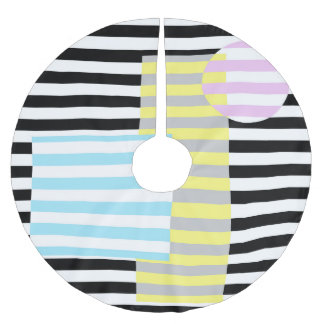 stripes and colours brushed polyester tree skirt