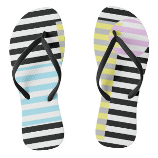 stripes and colours flip flops