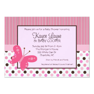 Stripes and Dots Butterfly Invitation