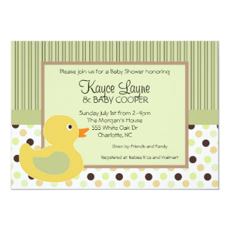 Stripes and Dots Duck Invitation