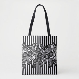 Stripes and Floral Black&White Tote Bag