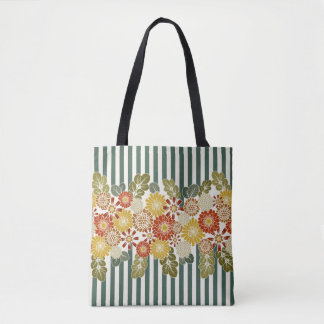 Stripes and Floral Vintage Colors Tote Bag