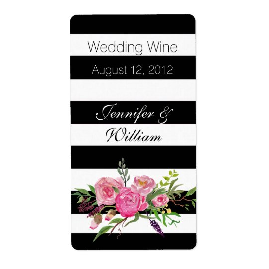 Stripes and Flowers Wedding Mini Wine Label Shipping Label