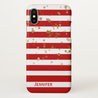 Stripes and Gold Confetti iPhone X Case