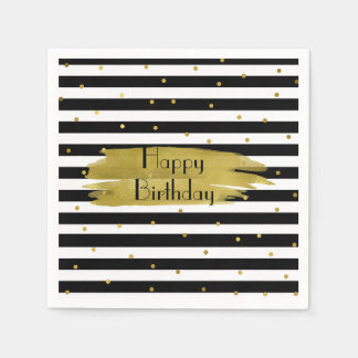 Stripes and Gold Dots Birthday Napkins Paper Napkins