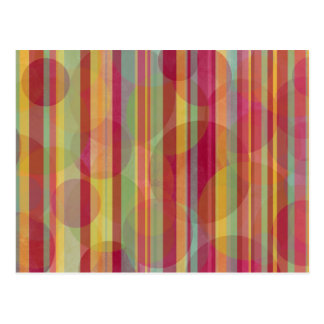 Stripes and grungy circles: postcard