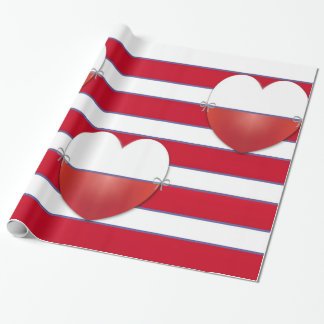Stripes and hearts wrapping paper