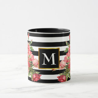 Stripes and red roses with famed name initial mug